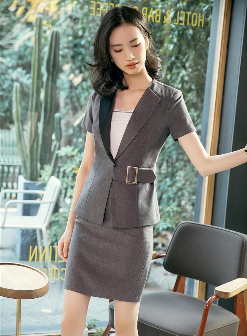 ee1f8b8c1 Verano formal gris blazer mujeres trajes de negocios de dos piezas falda y  chaqueta conjunto señoras ropa de trabajo uniformes de oficina diseños