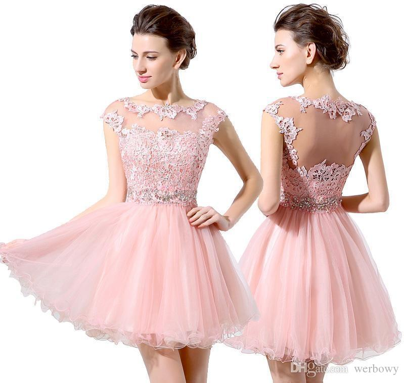 Junior 8th Grade Party Dresses Cute Pink Short Cocktail Dresses