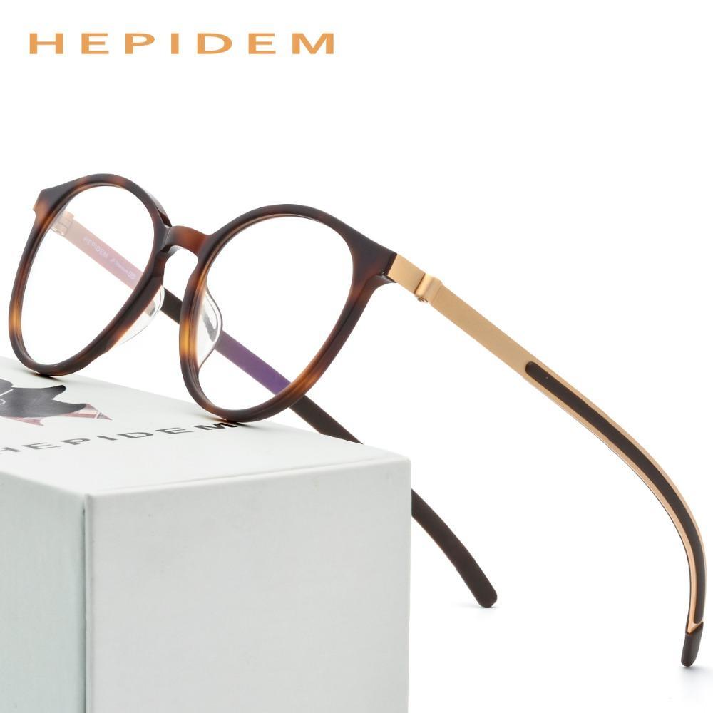 4c45fd412ff 2019 Acetate Optical Glasses Frame Women Men Ultralight Round Prescription  Eyeglasses B Titanium Myopia Screwless Eyewear From G6241163