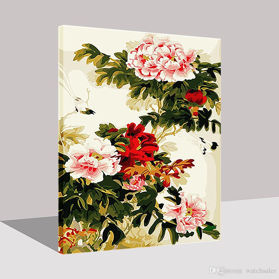 Marco de la pintura al óleo por números bricolaje kits de dibujo para colorear Noble Peony imágenes de la flor pintura de la mano en la lona arte de la pared decoración para el hogar