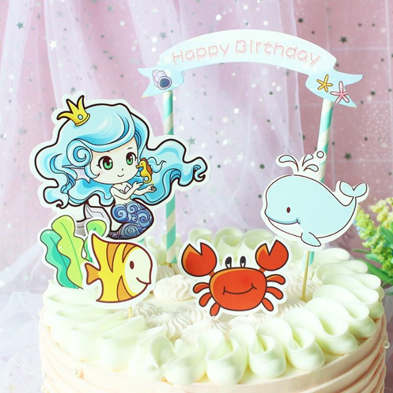 Compre Kawaii Dibujos Animados Mermaid Peces Delfín Cupcake Toppers