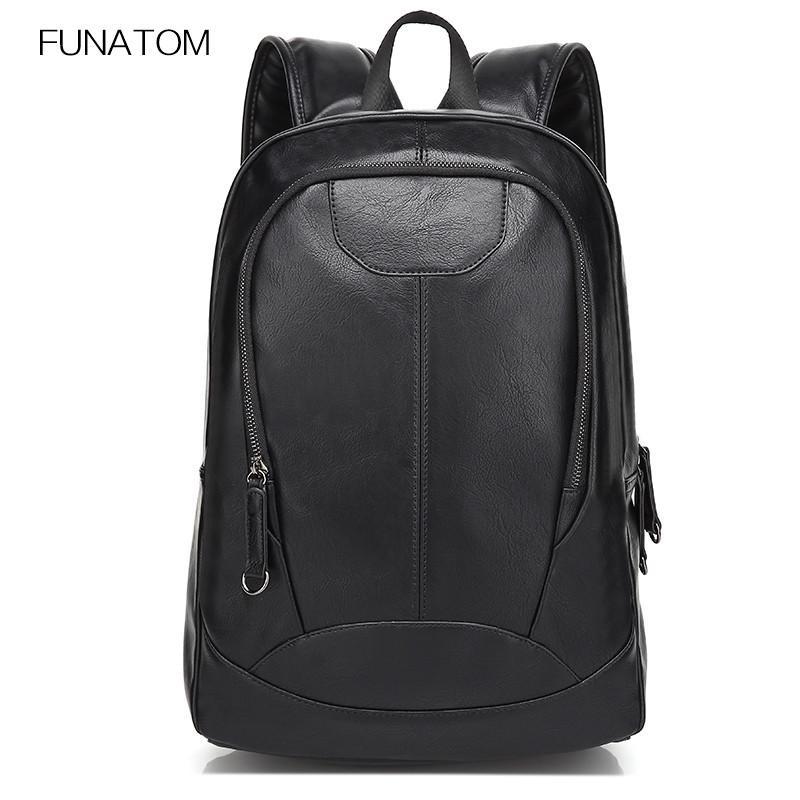 Funatom Brand Men Backpack Light Comfort Fashion Urban Backpack For 15 Inch  Laptop PU Leather Rucksack School Bag Backpacks For College Backpacks For  Kids ... dcad4601f0321