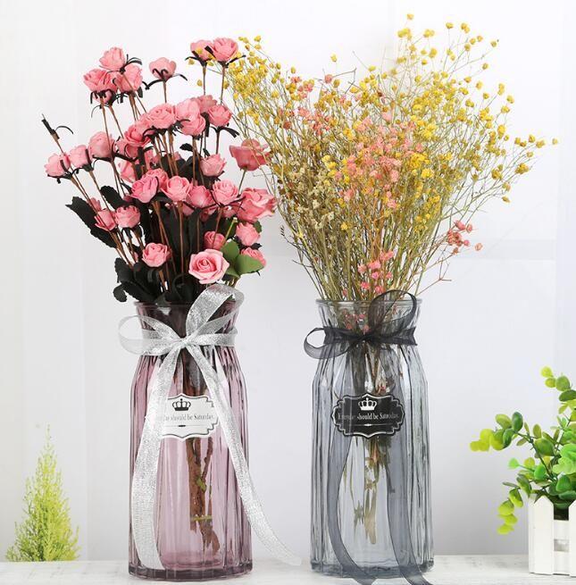 Glass Vase Transparent Colorful Vase Flower Inserter Creative Modern