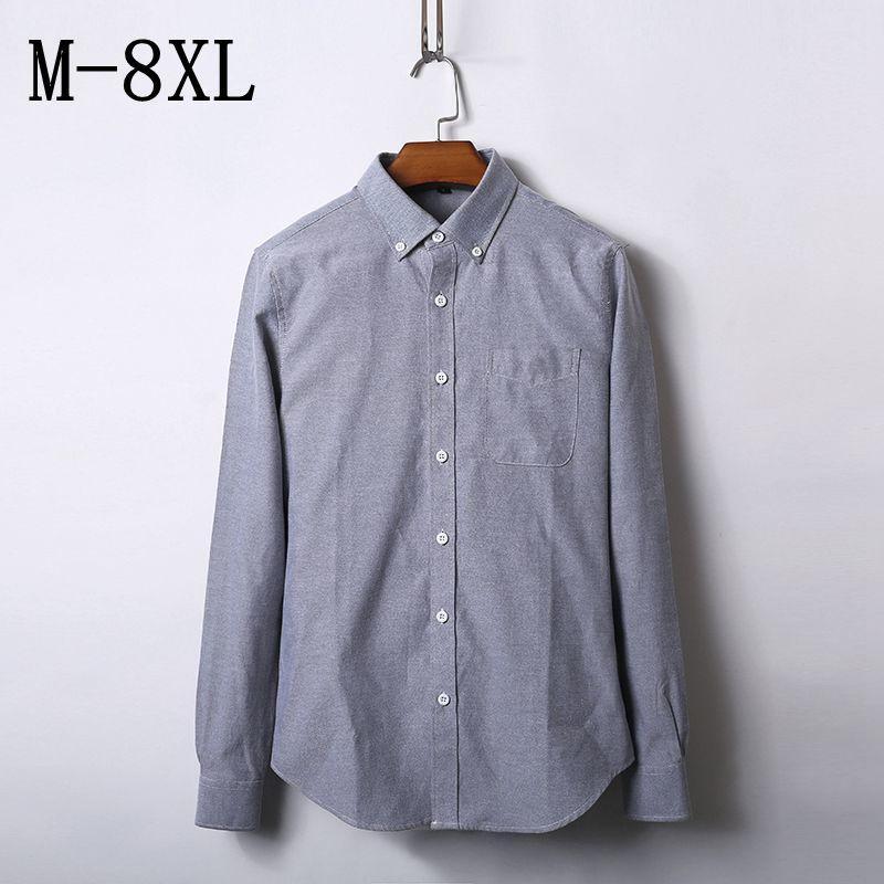 68625ea8de Compre Marca Homens Camisas Casuais 2018 Primavera Nova Sólida Camisa  Branca Homens Oxford Vestido Camisa Estilo Juventude Plus Size 7XL 8XL  Masculino De ...