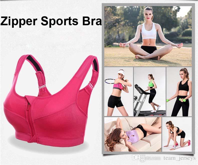 641ec52c40bc6 Women Sports Bra Running Front Zipper Movement Bra Yoga Padded ...