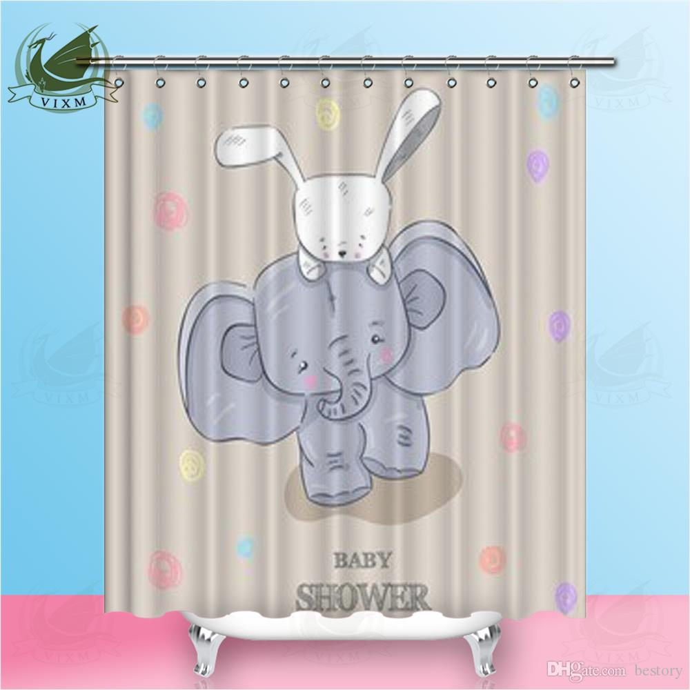 Vixm Home Elephant White Rabbit Shower Curtain Decorate Modern Animals For Bathroom With Hooks Ring 72 X UK 2019 From Bestory 1665