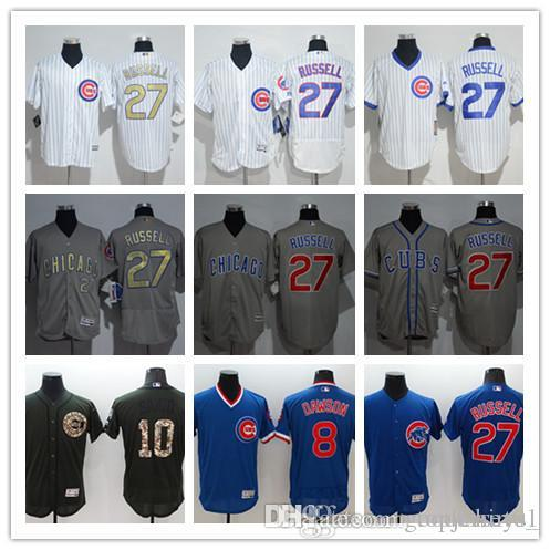 1eb16a272b4 custom Men women youth Majestic Chicago Cubs Jersey  8 Andre Dawson 10 Ron  Santo 27 Addison Russell Home Blue Grey White Baseball Jerseys