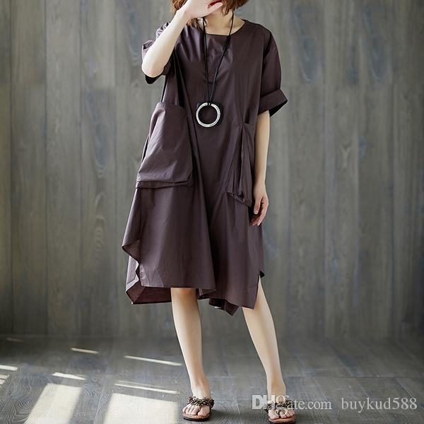 4949dfd6c53 2018 Buykud New Design Summer Short Sleeve Pockets Casual Linen Dress For  All And 10% Off For Order Over 500USD Cocktail Dress Shopping Cute Dresses  For ...