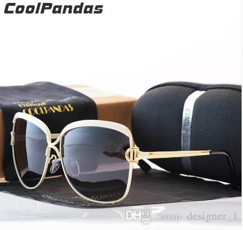 e942a6e9f Compre Coolpandas Brand Designer HD Polarizada Óculos De Sol Mulheres Retro  Armação De Metal Óculos De Sol Famosa Senhora Presente Oculos Feminino D  UV400 ...
