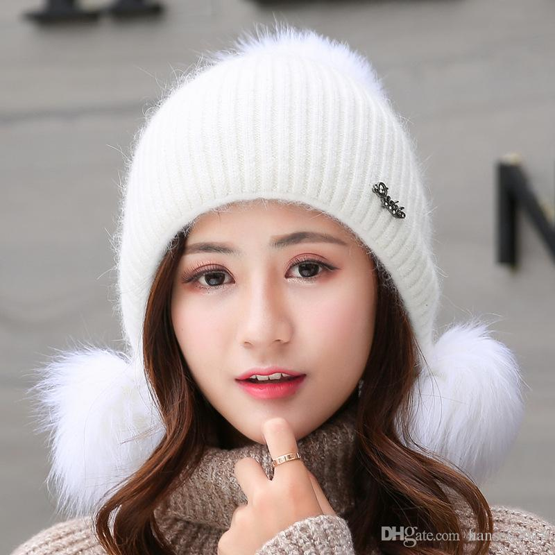 Rabbit Hair Hat Women Girls Winter Knitting Wool Cap Hat To Care For Ear  Winter New Double Thick Warm Stylish Winter Cap Hat Trucker Hats Winter Hats  From ... 8702f4d55b6
