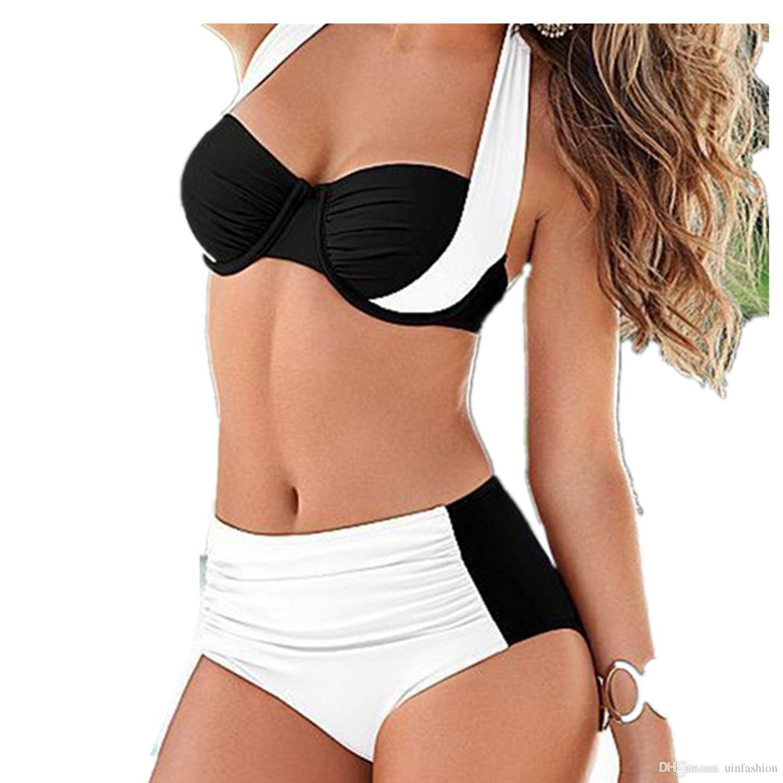 مثير بيكيني النساء ملابس السباحة عالية الخصر زائد حجم المايوه الرسن رفع البرازيلي بحر tankini