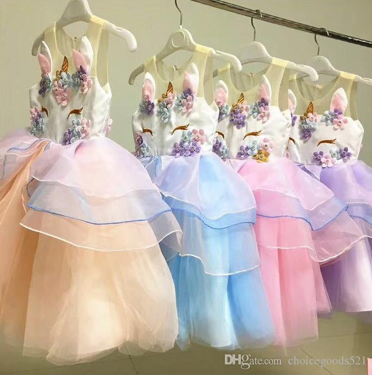 Unicorn Dress Summer Girl Embroidery Flower Baby Girls Party Dresses Kids Wedding Dress Little Girl Princess Dress