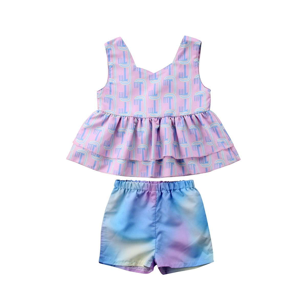 eef789c383dc8 Cute Toddler Baby Kids Girls Rainbow Ruffles Tops Dress + Shorts 2Pcs  Outfits Set Clothes