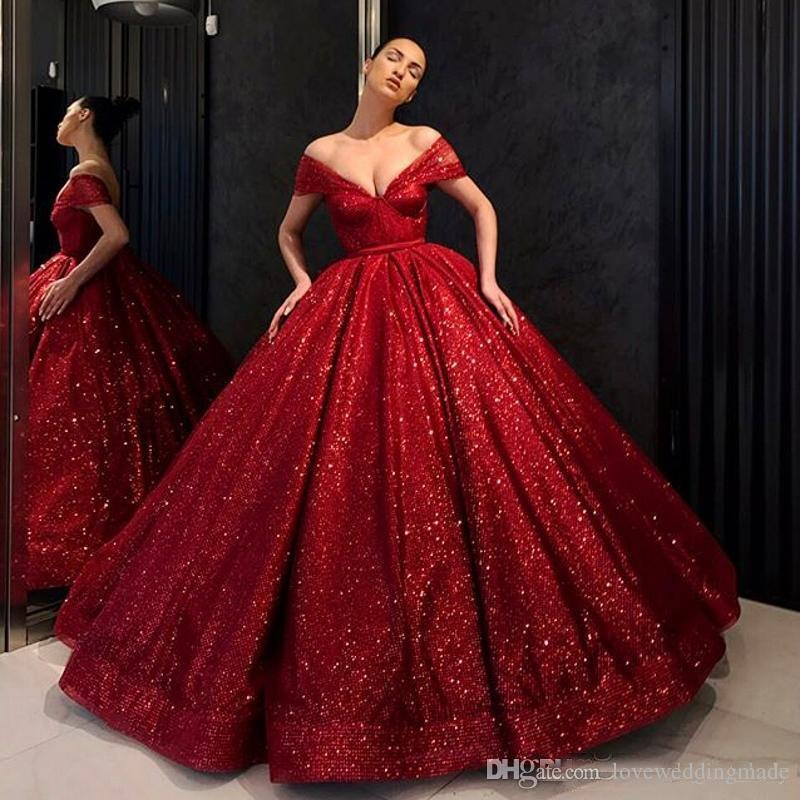 50b20235775 Charming Red Sequin Ball Gown Prom Dresses Off Shoulder Floor Length Ruffle  Sparkling Formal Evening Wear Pageant Gowns Modest Prom Dress Neon Prom  Dresses ...