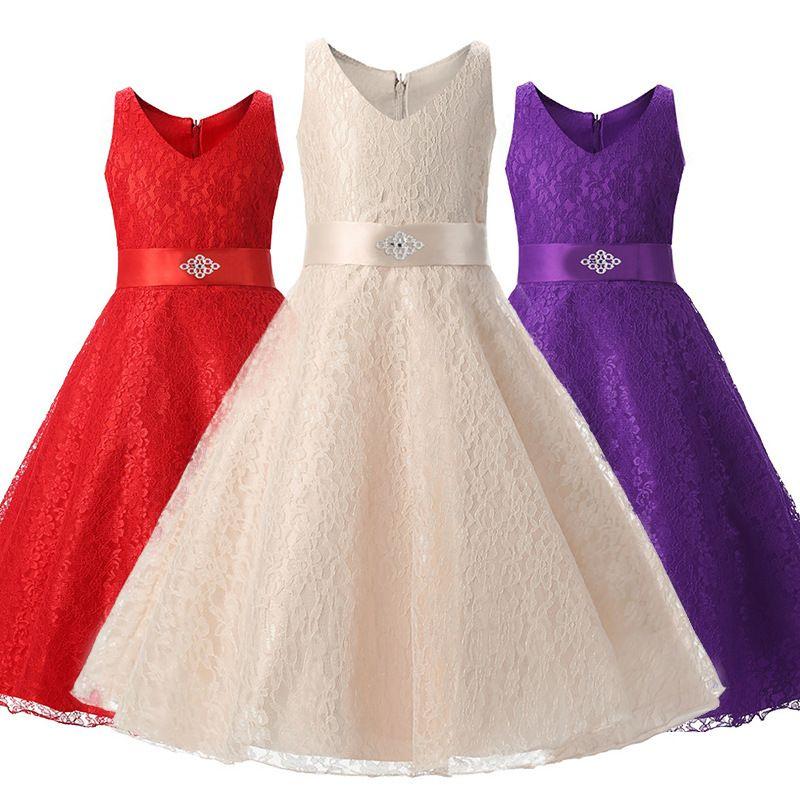 35d4415c86d2 2018 New European And American Girls Birthday Parties Dress Children High  Dress Princess Skirt Lace Wedding Dress Dresses For Girl Flower Girl Dresses  ...
