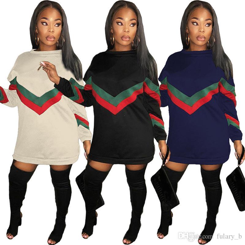 size 40 79afc 17450 Neue beiläufige lose Kleid Nähen gestreiften Reißverschluss Pullover  Pullover T-Shirt Kleid plus Größe Frauen Kleidung Vestidos lange T-Shirts  ...
