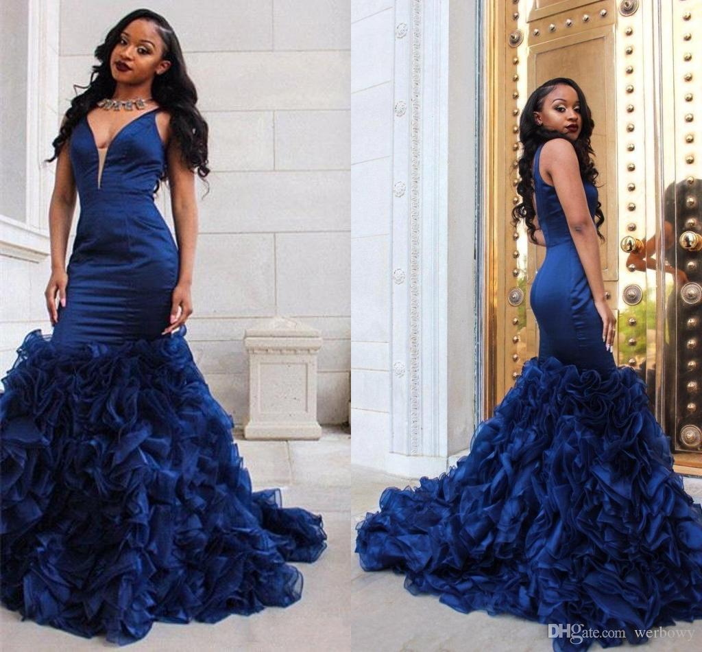 b28debdae8a9 African Black Girl Royal Blue Mermaid Prom Dresses Sexy Deep V Neck  Sleeveless Ruffles Organza Skirt Formal Party Dresses Evening Wear HY219  2015 Prom ...