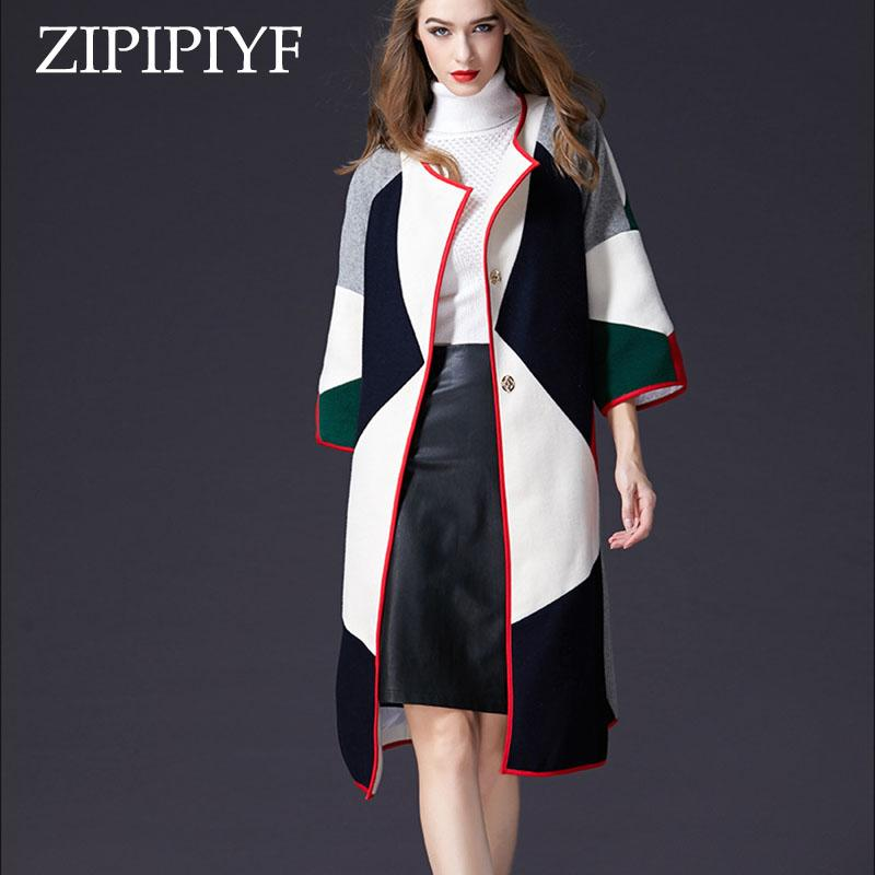 1e7cd5e8d4c9d 2019 Autumn Cloak Coat Winter Women Large Yards Loose Geometric Pattern Hit  Color Stitching Wool Coat Woolen Jacket Long Women From Eventswedding