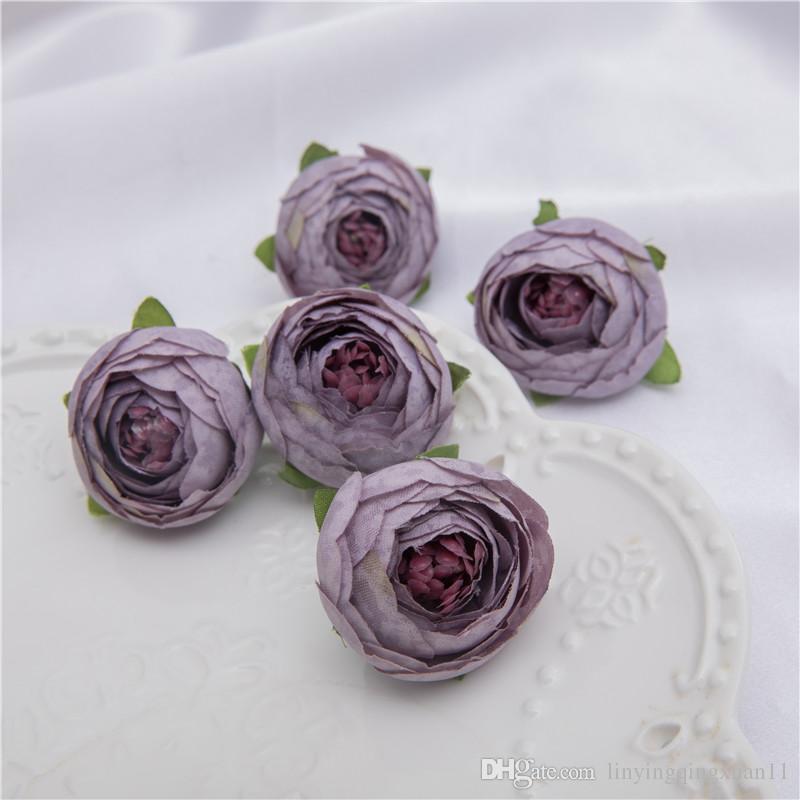 Mini Artificielle Thé Rose Bud petite pivoine Camellia Flores tête de fleur pour mariage décoration bricolage cadeaux D'artisanat Pour la décoration de fête