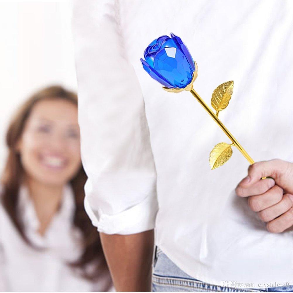 Flor de cristal de cristal Rose 24K oro tallo largo Flores artificiales aniversario de bodas regalo de San Valentín para los amantes y las niñas