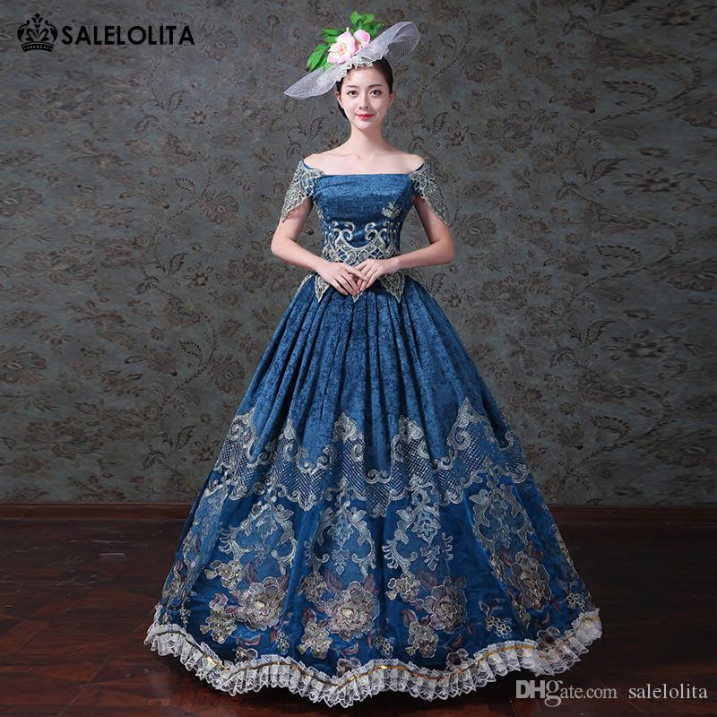 f4fd1d8a7908 2018 Blue Velvet Embroidery Southern Belle Dress Renaissance Marie  Antoinette Civil War Dress Reenactment Clothing Kids Group Costumes Family  Costume Themes ...