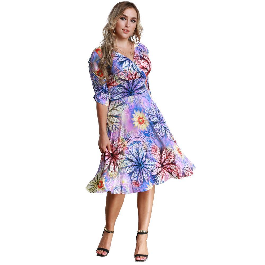 3036b1f2 Compre 2018 Nuevas Mujeres De La Manera Vestido De Tallas Grandes Estampado  Floral Con Cuello En V Media Manga Midi Delgado Trabajo Elegante Oficina De  Una ...