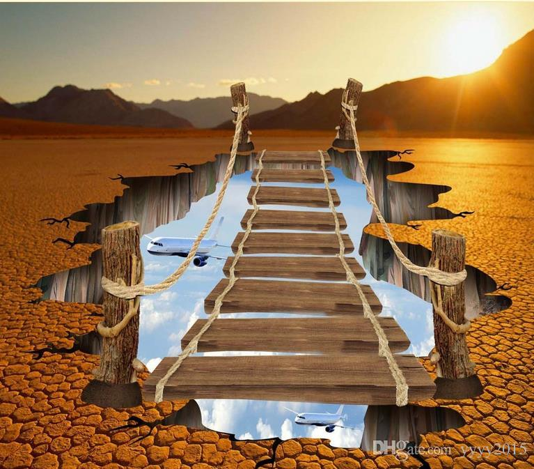 wall papers home decor designers Creative ground crack bridge 3D outdoor three-dimensional floor painting