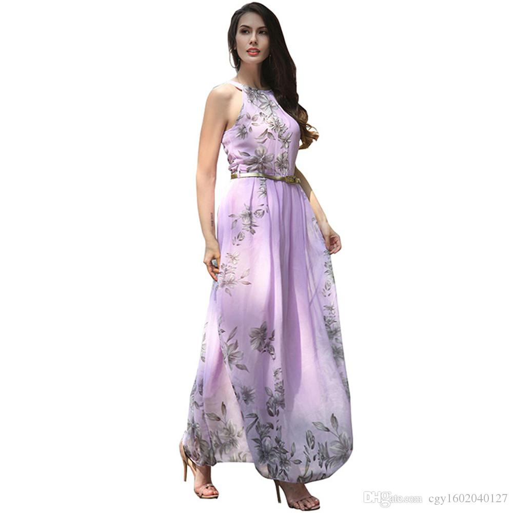 2019 New 2018 Floral Print Halter Chiffon Long Dress Women Summer Maxi  Dresses Vestidos Sexy Femme Split Beach Dress From Cgy1602040127 5a4f300eb