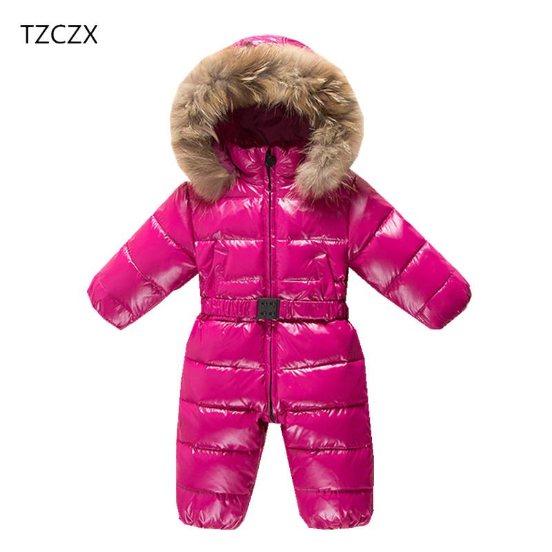 adbc58877 TZCZX-2918 Children Baby Girls Boys Windproof waterproof duck down Hooded  Cotton Jumpsuit For 6 Month to 3 Years Old Kids Wear