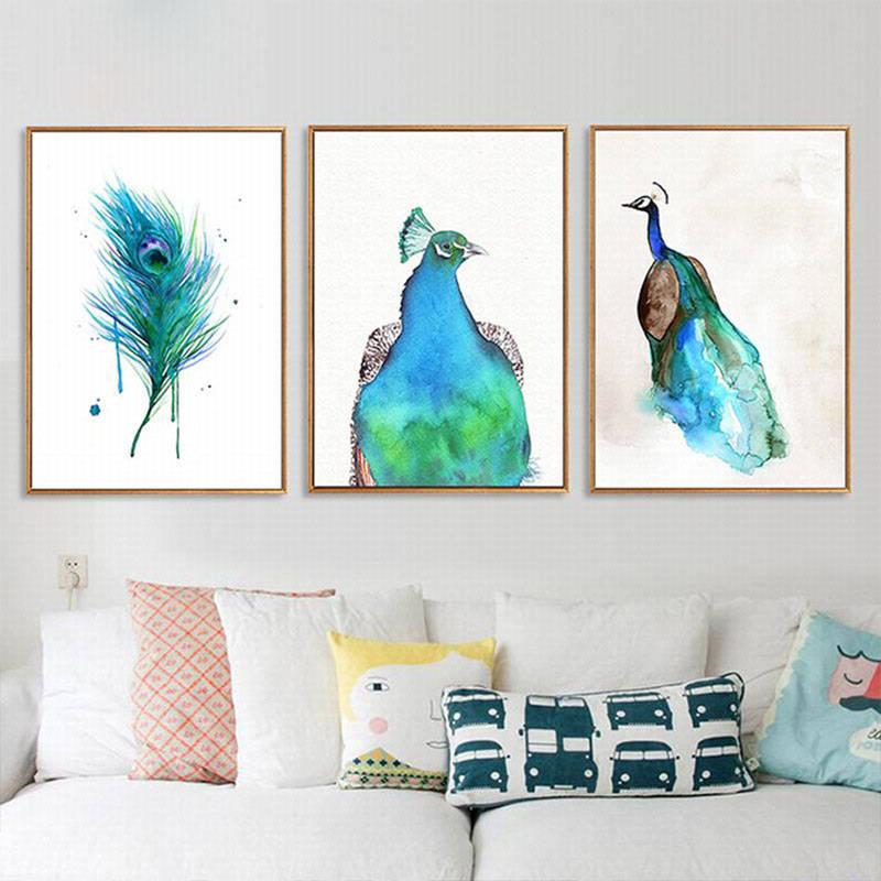 Colorful beautiful animal peacock Canvas Paintings Nursery Wall Art Nordic Posters Print Pictures For Kids Room Home Decor