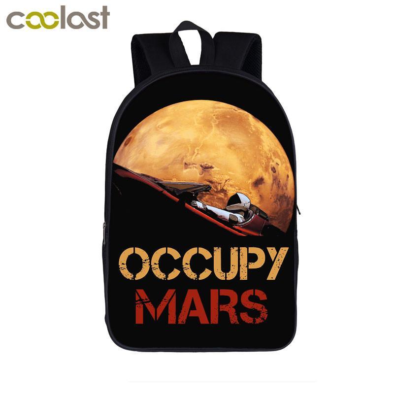 f7bee6cd0f Occupy Mars SpaceX Starman Backpacks Elon Musk Teenager Boy Girls School  Bags Women Men Laptop Backpack Kids Student Book Bag Online with   54.73 Piece on ...