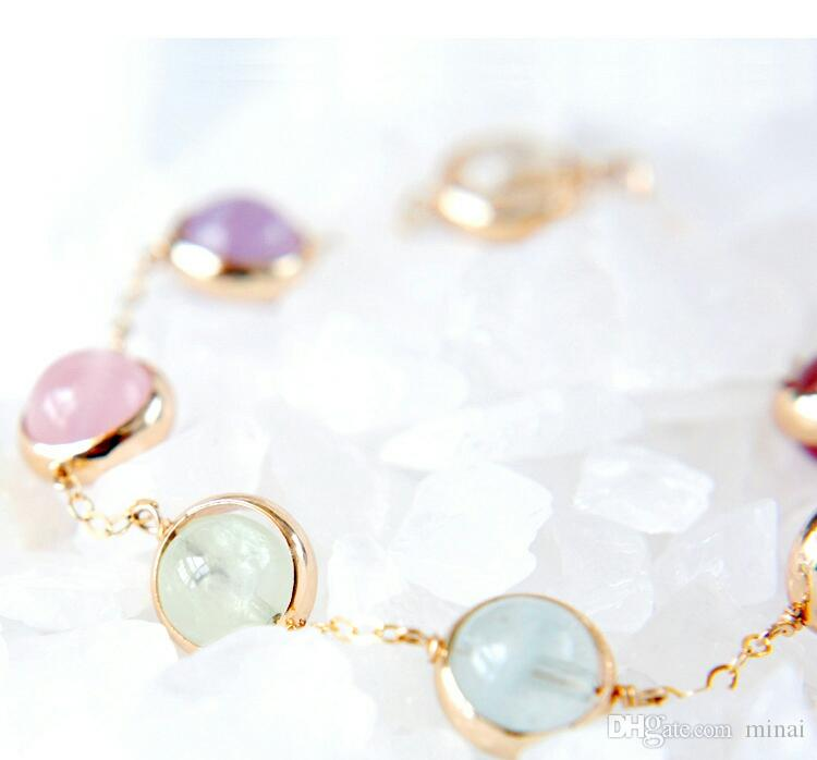 14K Rose Gold Creative Lucky Seven Colorful Strawberry Crystal Ball Chain Bracelets Bangle Jewelry Girl's Gift Romantic