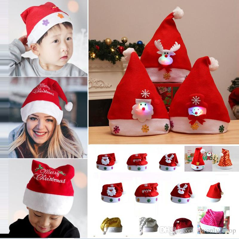 ea3fc9ed5f325 Led Kids Christmas Hat Xmas Adult Mini Red Santa Claus Deer Party Decor Christmas  Caps Christmas Decorations Gift 19 Styles Printable Hats Templates ...