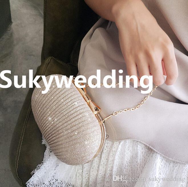 Sparky Femmes Plissée Sacs De Main De Mariée Pour Mariage Or Soirée Embrayages Chaîne Sac Applique En Stock Sacs De Mariée Parti Blingbling