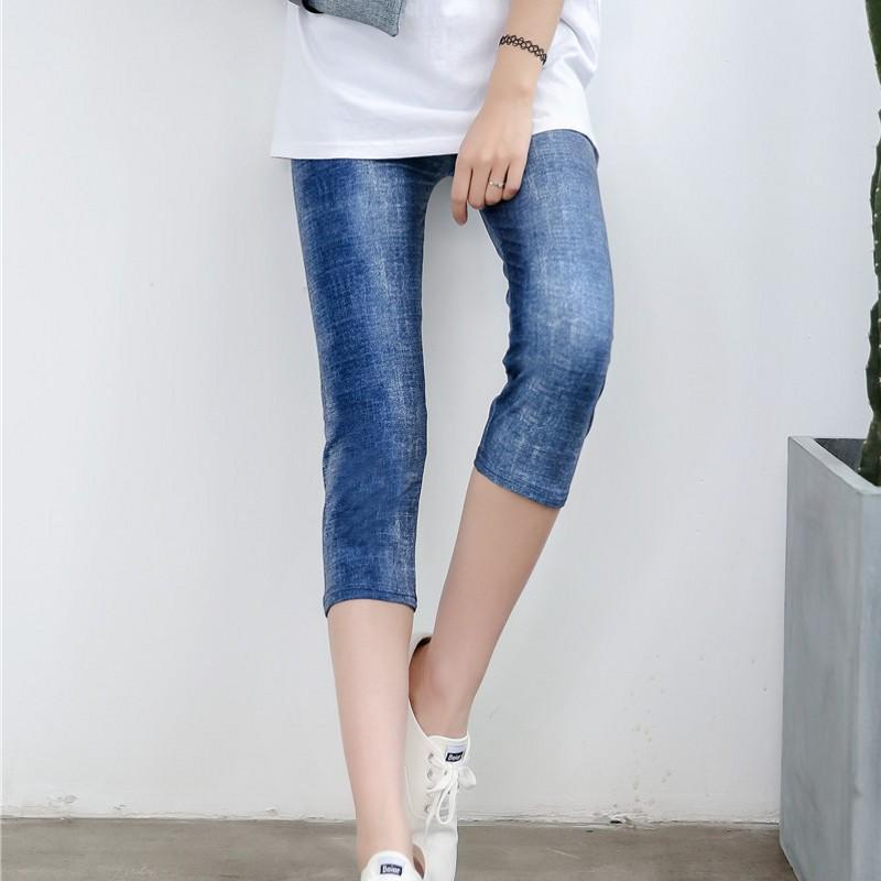 b7966065adf060 2019 Summer Women Capris Leggings Faux Denim Jeans Leggins Knee Length  Pants Skinny Casual Stretched Elastic Cropped Leggings Cowboy From Vickay