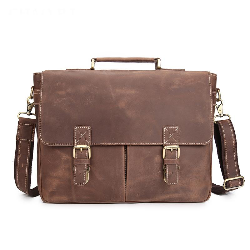 1e04b35c23 YISHEN Top Grade Men S Vintage Real Crazy Horse Leather Briefcase Messenger  Shoulder Portfolio Laptop Bags Case Handbags MS1042 Satchel Bags Man Bags  From ...
