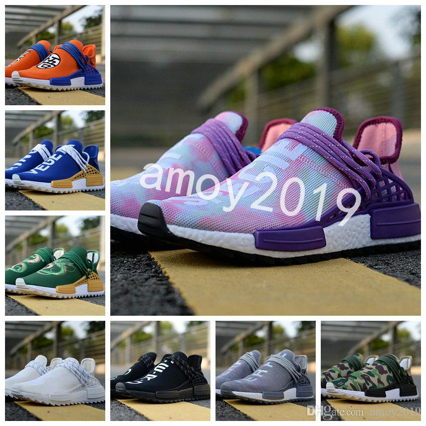2018 New Human Race Men Women Running Shoes Pharrell Williams White Blank  Human Races Mens Trainers Sports Sneakers Size 5 11 Neutral Running Shoes  Winter ... 6bb56cf3e