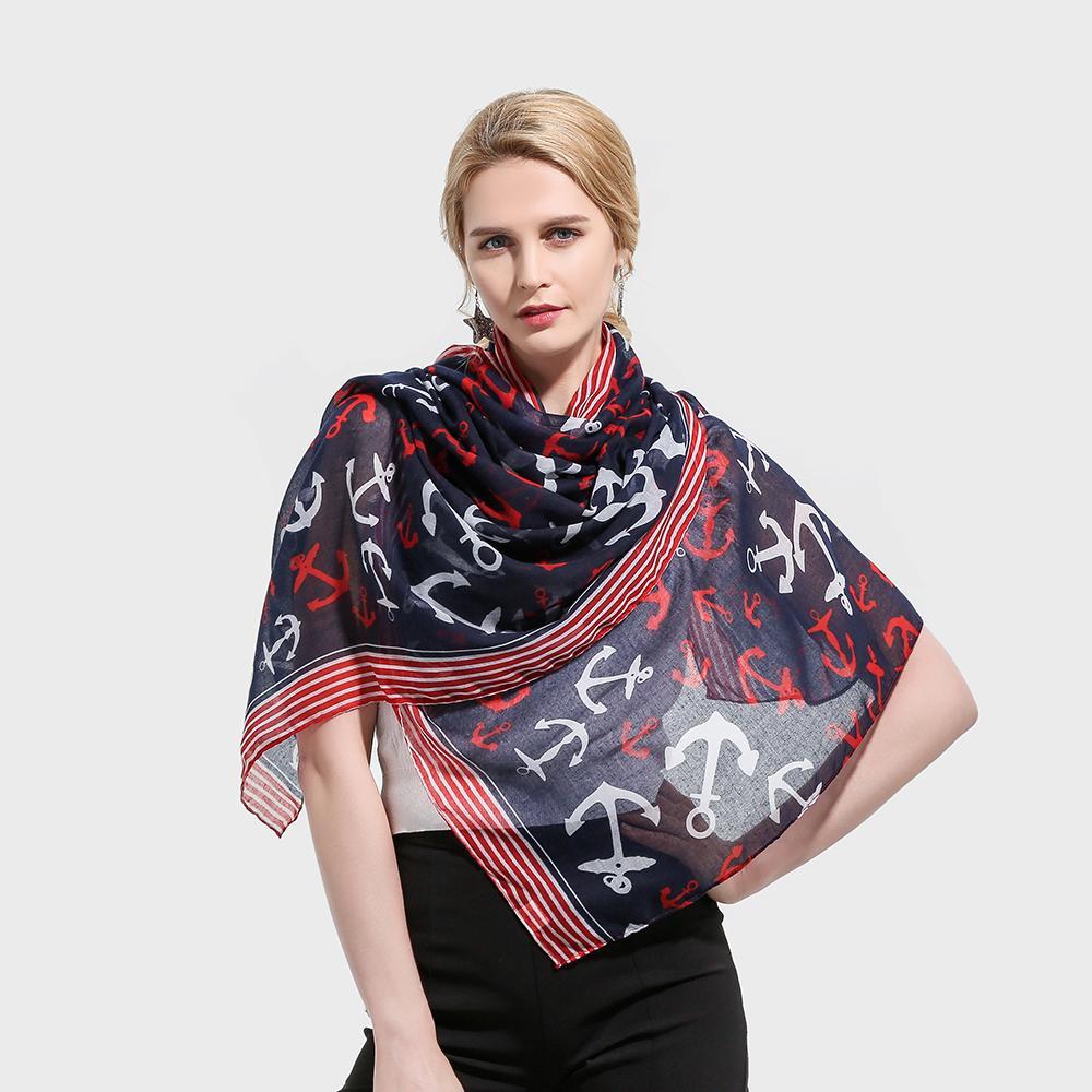 b7ceb61b9d7 Winfox 2018 New Fashion Lightweight Soft Navy White Color Striped Anchor  Pattern Scarves Long Shawl Foulard Wraps Echarpe Femme Cashmere Scarf  Fashion Shop ...