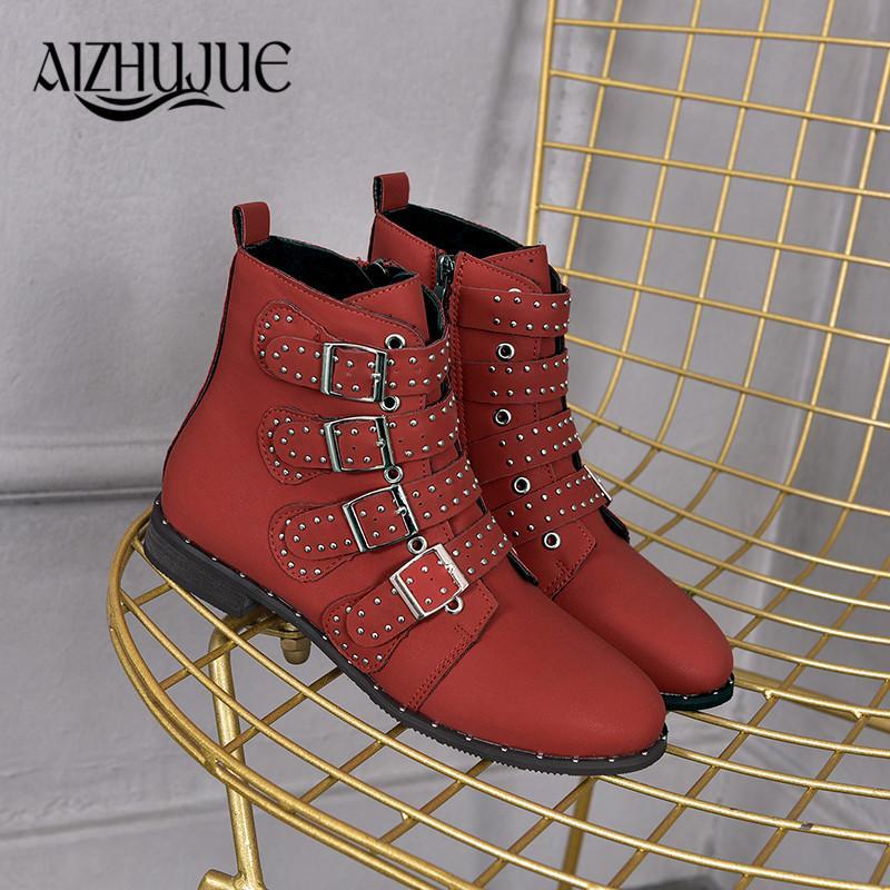 6f7796b4e Rivets Faux Cuir Bottillons Boucle Bretelles Talon Épais Noir Cheville  Femmes Bottes Cloutés Décoré Bottes Femme Moto rouge