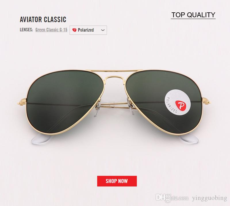 f6f01f68da 2018 Top Brand Luxury Designer Polarized Glass Aviation Pilot ...