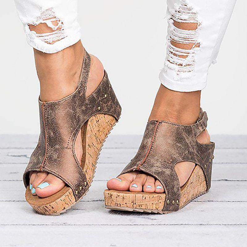 d376f96b4 Women Fashion Platform Sandals Lady Vintage Wedge Sandals Female High Heel  Shoes Platform Sandals High Heels Wedge Sandals Online with  32.94 Piece on  ...