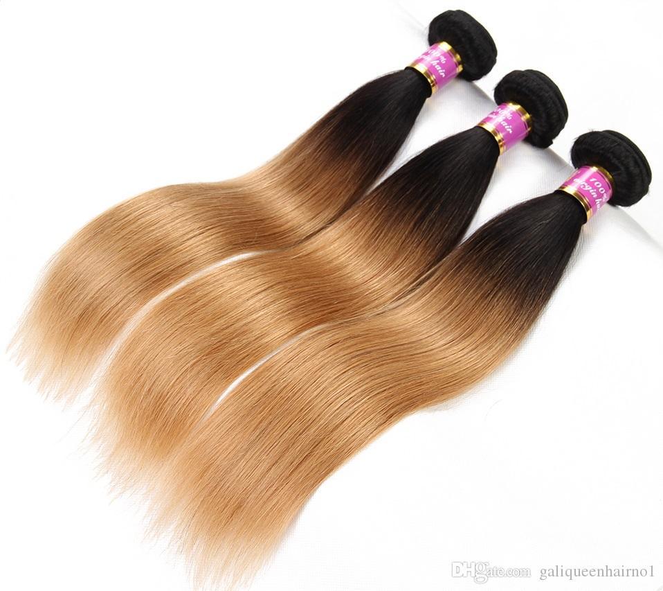 I capelli vergini umani brasiliani diritti tessono le due estensioni dei capelli di Remy delle trame di colore 2B / 27 di Ombre di tono due