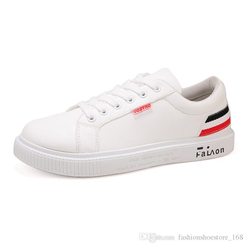 c99ca8eb60d Marka Flats Erkekler Ayakkabı Siyah Beyaz Renk Erkek Casual Sneakers  Erkekler Lace up Suni Deri Eğlence Ayakkabı tenis masculino adulto ...