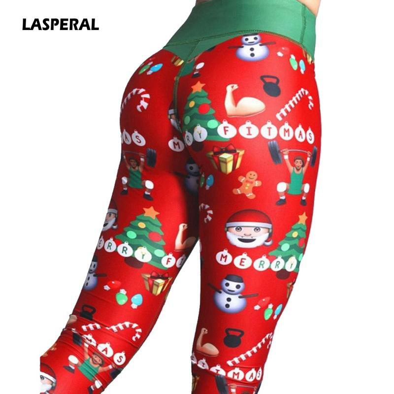 c4f2e7f3ac877b 2019 LASPERAL 2018 Christmas Printing Leggings Put Hip Elastic High Waist  Legging Breathable Merry Christmas Pants Fitness Yoga Pants From Capsicum