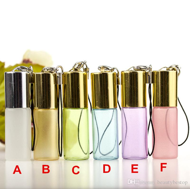 Hot 2018 5ml Essential Oil Roller Bottles Wholesale With Metal Roller Balls Aromatherapy Perfumes Lip Balms Roll On Bottle