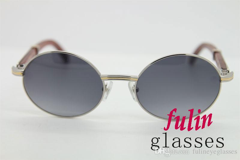 무료 배송 18K 골드 빈티지 나무 선글라스 금속 프레임 남성 빈티지 나무에 대한 실제 나무 선글라스 안경 7,550,178 타원형 선글라스