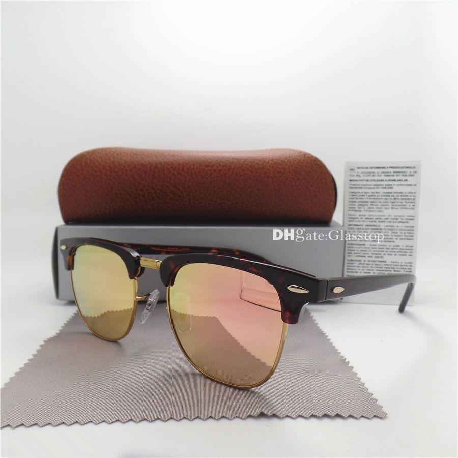 TOP Quality Glass Lens Fashion Men Women Plank Sunglasses UV400 51MM Half Frame Designer Vintage Pink Gold Mercury Mirror Brown Box Caes