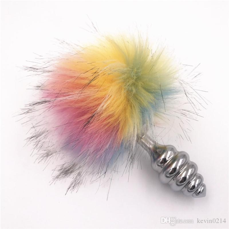 Anal Plug Stainless Steel Butt Plug Rabbit Tail Colorful Bunny Tail Anal Beads Anus Stopper Anal Sex Toy for Women H8-1-68C