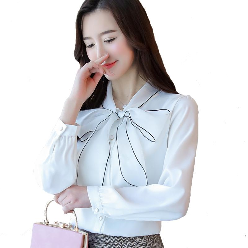 f1567db55d49cd Women's Shirt Autumn Ladies Office Wear Shirt Korean Fashion Organza Bow  Long Sleeved Shirt Chiffon Shirts Blouse Woman White Tops Blusas