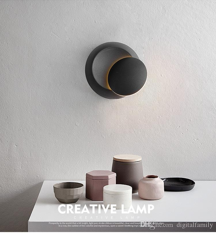 2018 настенные светильники черный белый 90-260 в настенный светильник крытый светодиодные настенные лампы спальня 360 угол вращающийся гальваническим металл 5 Вт светодиодные бра творческий лампы